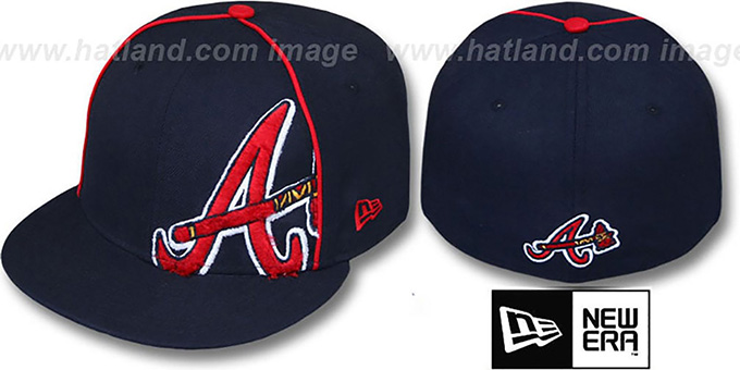 Braves 'TRIBULATOR' Navy Fitted Hat by New Era : pictured without stickers that these products are shipped with