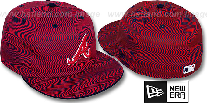 Braves 'TRIPPIN' Red-Navy Fitted Hat by New Era : pictured without stickers that these products are shipped with