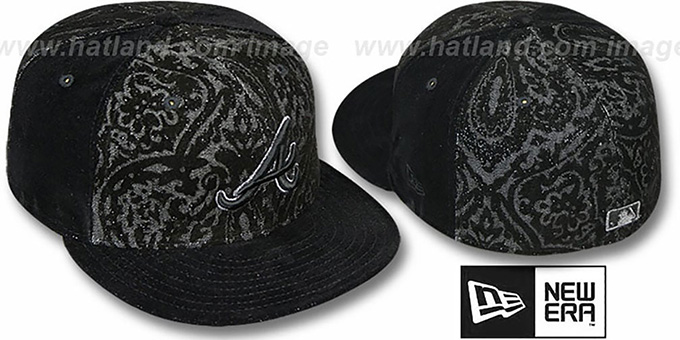 Braves 'VELVET PAISLEY' Black Fitted Hat by New Era : pictured without stickers that these products are shipped with