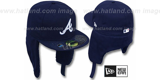 Braves 'WATER REPELLENT DOGEAR' Navy Fitted Hat by New Era : pictured without stickers that these products are shipped with