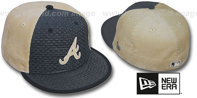Braves 'WEAVE-N-CORD' Fitted Hat by New Era - black-tan : pictured without stickers that these products are shipped with