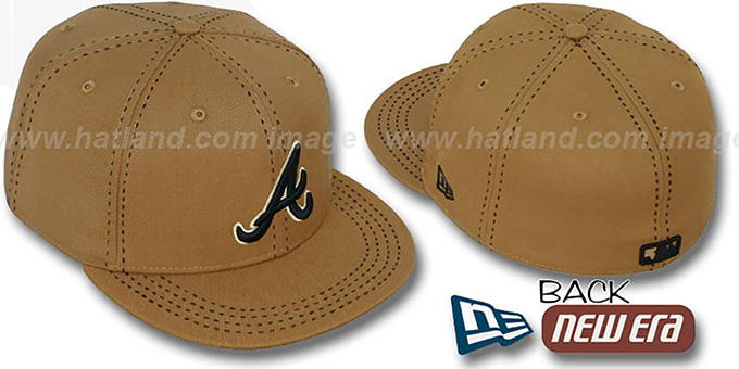 Braves 'WHEAT PURSE STITCH' Fitted Hat by New Era : pictured without stickers that these products are shipped with