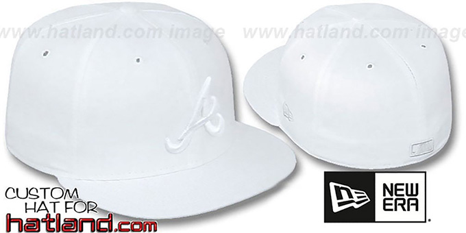 Braves 'WHITEOUT' Fitted Hat by New Era : pictured without stickers that these products are shipped with