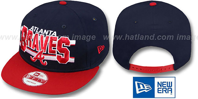 Braves 'WORDSTRIPE SNAPBACK' Navy-Red Hat by New Era : pictured without stickers that these products are shipped with