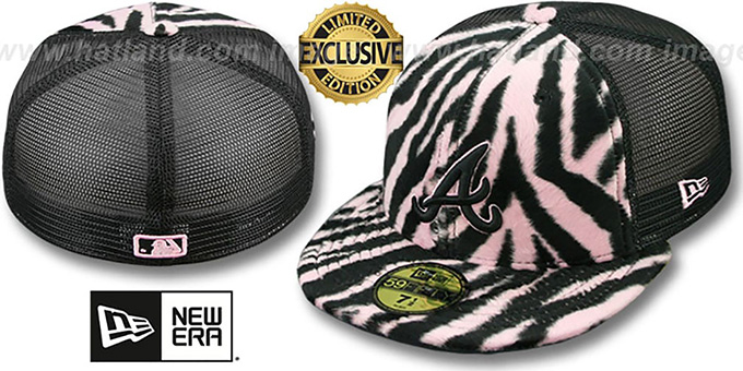 Braves ZEBRA 'ANIMAL-FUR MESH-BACK' Fitted Hat by New Era : pictured without stickers that these products are shipped with