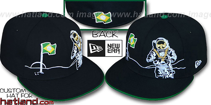 Brazil 'MOONMAN' Black Fitted Hat by New Era : pictured without stickers that these products are shipped with
