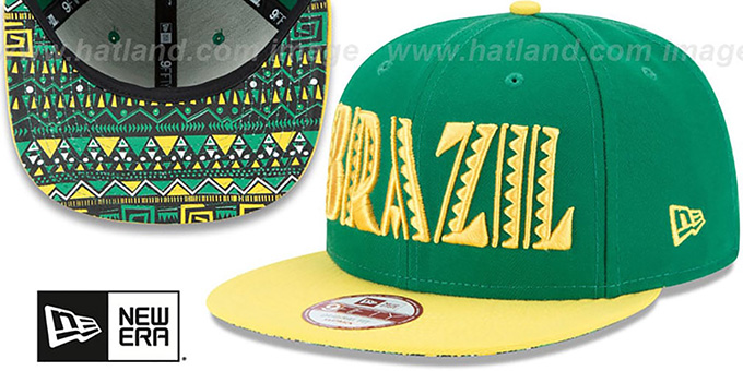 Brazil 'SPLENDOR SNAPBACK' Green-Yellow Hat by New Era : pictured without stickers that these products are shipped with