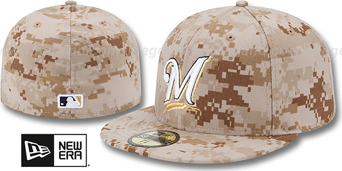 Brewers 2013 'STARS N STRIPES' Desert Camo Hat by New Era : pictured without stickers that these products are shipped with