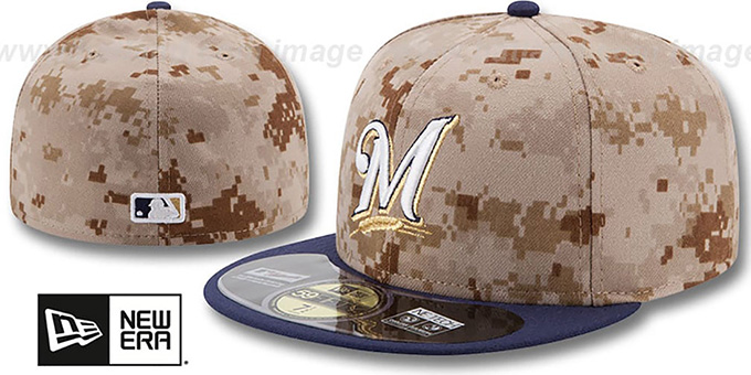 Brewers '2014 STARS N STRIPES' Fitted Hat by New Era : pictured without stickers that these products are shipped with