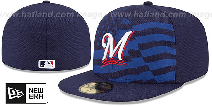 Brewers '2015 JULY 4TH STARS N STRIPES' Hat by New Era : pictured without stickers that these products are shipped with