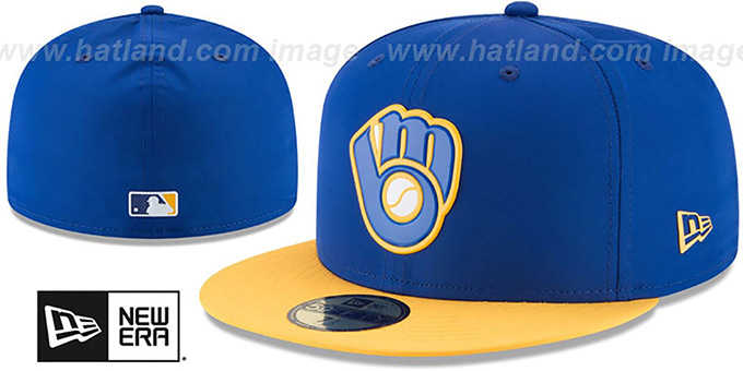 Brewers '2018 PROLIGHT-BP' ALTERNATE Royal-Gold Fitted Hat by New Era : pictured without stickers that these products are shipped with