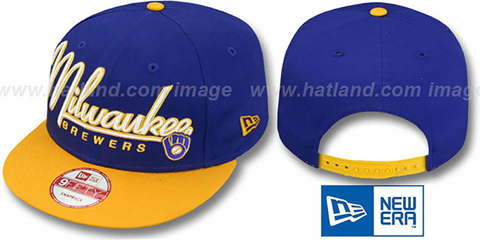 Brewers '2T COOP CHARZ SNAPBACK' Royal-Gold Hat by New Era : pictured without stickers that these products are shipped with