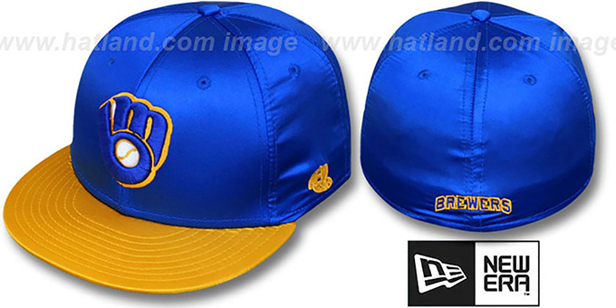 cd77d417385 Milwaukee Brewers 2T COOP SATIN CLASSIC Royal-Gold Fitted Hat by New Era