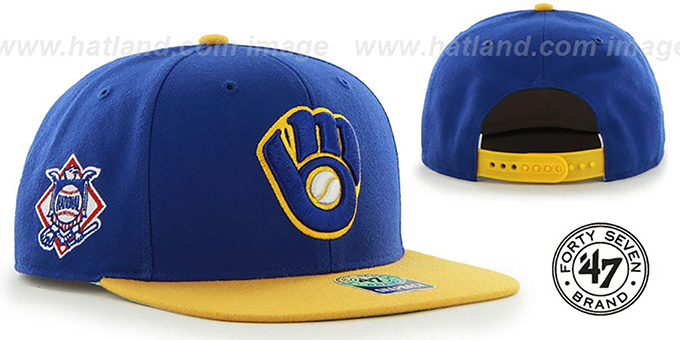 4a2c94649489a Brewers ALT  SURE-SHOT SNAPBACK  Royal-Gold Hat by Twins 47 Brand