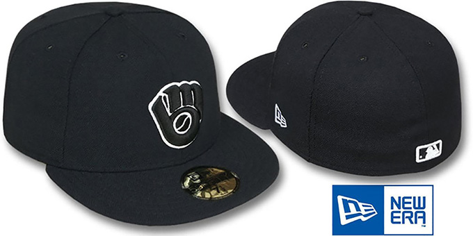 Brewers ALT 'TEAM-BASIC' Black-White Fitted Hat by New Era : pictured without stickers that these products are shipped with