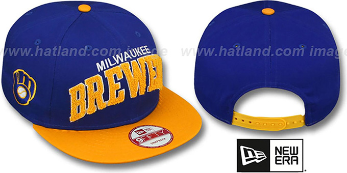 Brewers COOP 'CHENILLE-ARCH SNAPBACK' Royal-Gold Hat by New Era : pictured without stickers that these products are shipped with