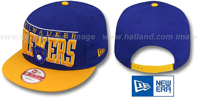 Brewers COOP 'LE-ARCH SNAPBACK' Royal-Gold Hat by New Era : pictured without stickers that these products are shipped with