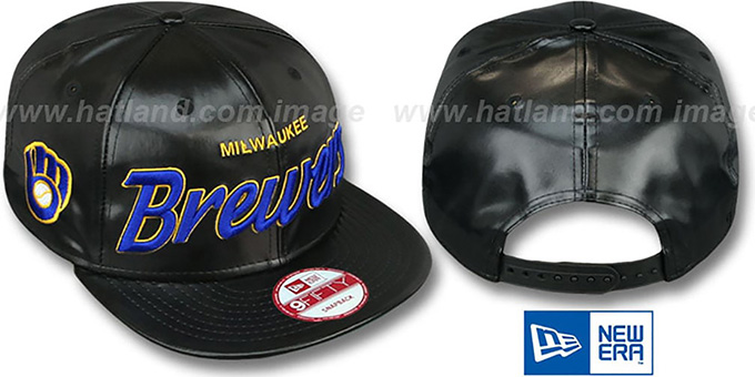 Brewers COOP 'REDUX SNAPBACK' Black Hat by New Era : pictured without stickers that these products are shipped with
