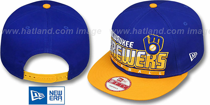 Brewers COOP 'SLICE-N-DICE SNAPBACK' Royal-Gold Hat by New Era : pictured without stickers that these products are shipped with
