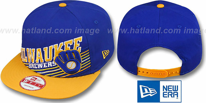 Brewers COOP 'STILL ANGLIN SNAPBACK' Royal-Gold Hat by New Era : pictured without stickers that these products are shipped with