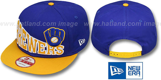 Brewers COOP 'STOKED SNAPBACK' Royal-Gold Hat by New Era : pictured without stickers that these products are shipped with