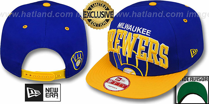 Brewers COOP 'SUPER-LOGO ARCH SNAPBACK' Royal-Gold Hat by New Era : pictured without stickers that these products are shipped with