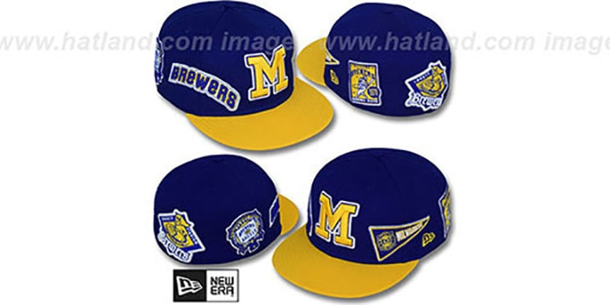 Brewers 'DEEZ PATCHES' Royal-Gold Fitted Hat by New Era : pictured without stickers that these products are shipped with