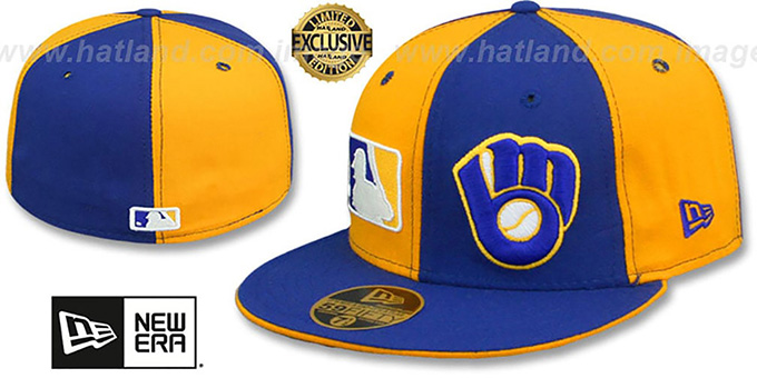 Brewers 'DOUBLE WHAMMY' Gold-Royal Fitted Hat : pictured without stickers that these products are shipped with