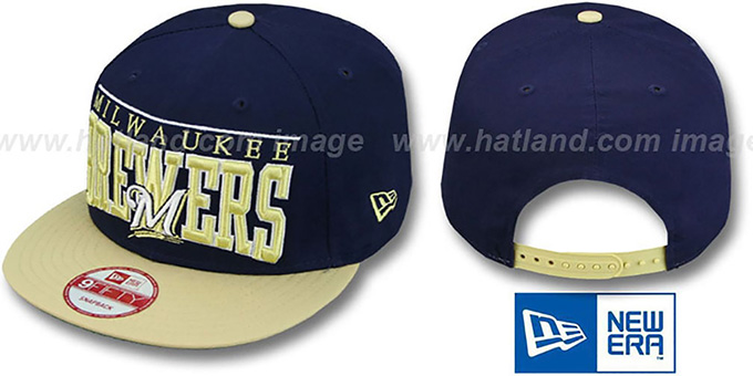 Brewers 'LE-ARCH SNAPBACK' Navy-Gold Hat by New Era : pictured without stickers that these products are shipped with