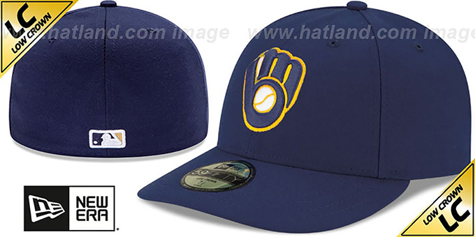 Brewers 'LOW-CROWN' ALTERNATE2 Fitted Hat by New Era : pictured without stickers that these products are shipped with