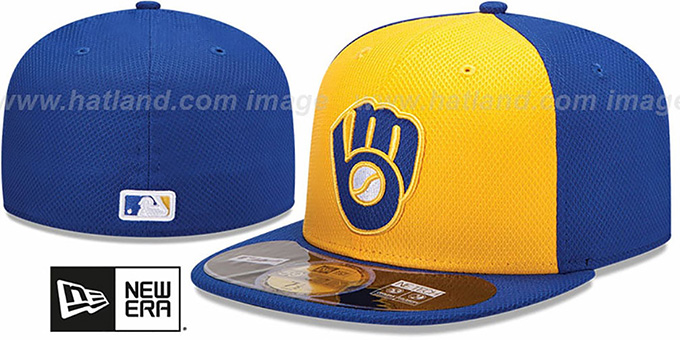 Brewers 'MLB DIAMOND ERA' 59FIFTY Gold-Royal BP Hat by New Era : pictured without stickers that these products are shipped with