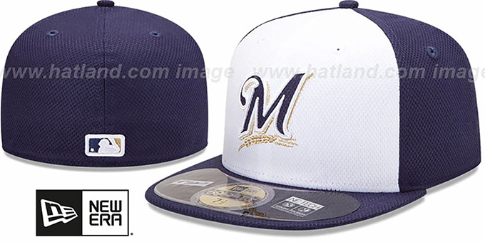 Brewers 'MLB DIAMOND ERA' 59FIFTY White-Navy BP Hat by New Era : pictured without stickers that these products are shipped with