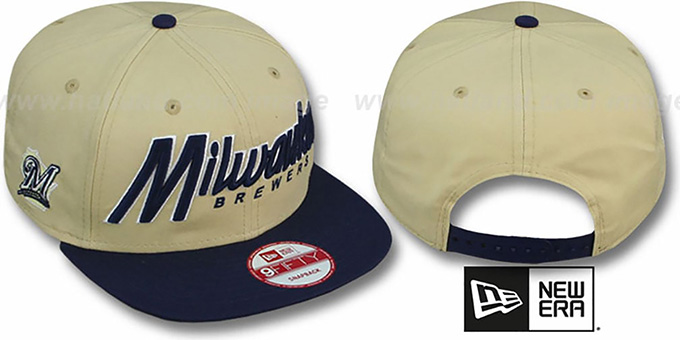 Brewers 'SNAP-IT-BACK SNAPBACK' Gold-Navy Hat by New Era : pictured without stickers that these products are shipped with