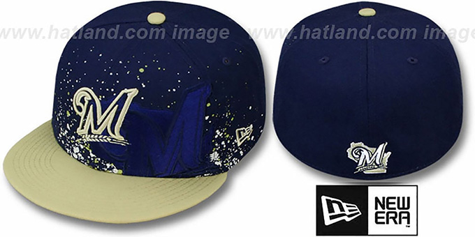 Brewers 'SPLATZ' Navy-Gold Fitted Hat by New Era : pictured without stickers that these products are shipped with