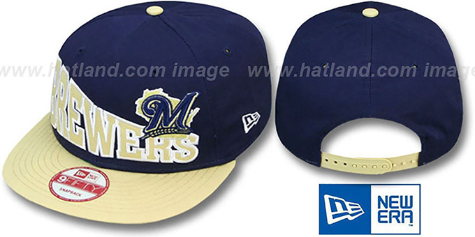 Brewers 'STOKED SNAPBACK' Navy-Tan Hat by New Era : pictured without stickers that these products are shipped with