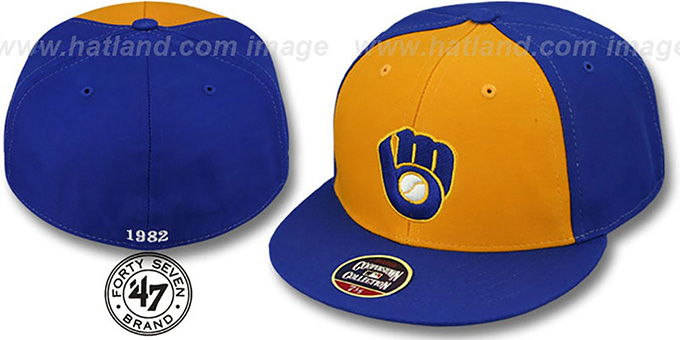 Brewers'1982 COOPERSTOWN ' Fitted Hat by Twins 47 Brand : pictured without stickers that these products are shipped with