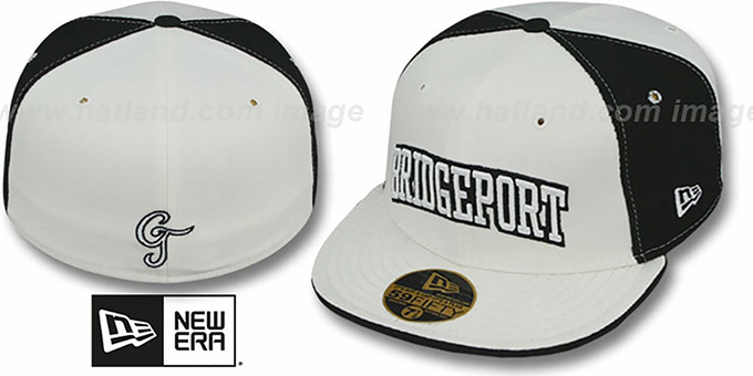 Bridgeport 'PINWHEEL-CITY' White-Black-White Fitted Hat by New Era : pictured without stickers that these products are shipped with