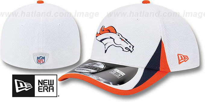 Broncos '2013 NFL TRAINING FLEX' White Hat by New Era : pictured without stickers that these products are shipped with