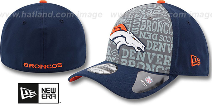 Broncos '2014 NFL ALT DRAFT FLEX' Navy Hat by New Era : pictured without stickers that these products are shipped with