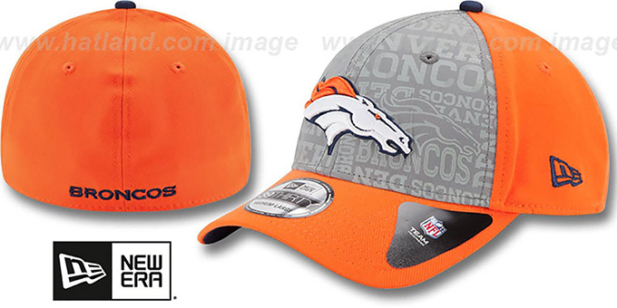 Broncos '2014 NFL DRAFT FLEX' Orange Hat by New Era : pictured without stickers that these products are shipped with
