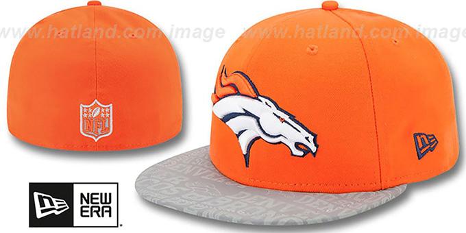 Broncos '2014 NFL DRAFT' Orange Fitted Hat by New Era : pictured without stickers that these products are shipped with