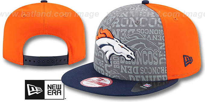 Broncos '2014 NFL DRAFT SNAPBACK' Orange-Navy Hat by New Era : pictured without stickers that these products are shipped with