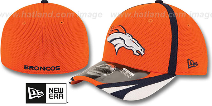Broncos '2014 NFL TRAINING FLEX' Orange Hat by New Era : pictured without stickers that these products are shipped with