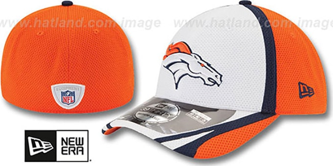 Broncos '2014 NFL TRAINING FLEX' White Hat by New Era : pictured without stickers that these products are shipped with