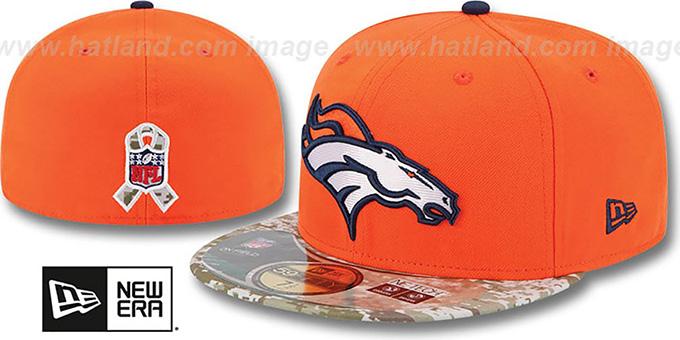 Broncos '2014 SALUTE-TO-SERVICE' Orange-Desert Fitted Hat by New Era : pictured without stickers that these products are shipped with