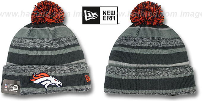 Broncos '2014 STADIUM' Grey-Grey Knit Beanie Hat by New Era : pictured without stickers that these products are shipped with