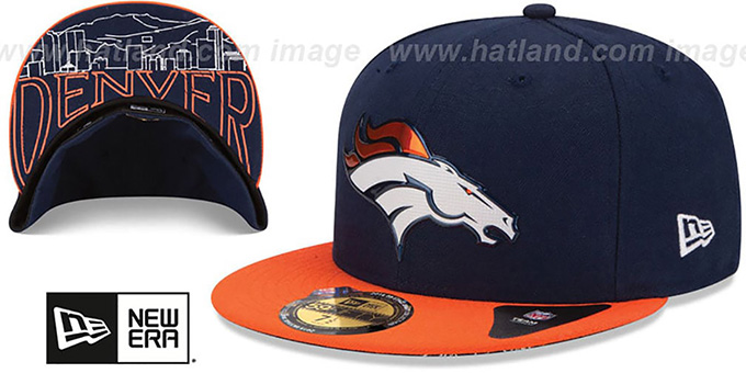 Broncos '2015 NFL DRAFT' Navy-Orange Fitted Hat by New Era : pictured without stickers that these products are shipped with