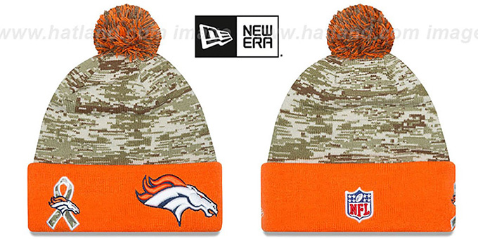 Broncos '2015 SALUTE-TO-SERVICE' Knit Beanie Hat by New Era : pictured without stickers that these products are shipped with