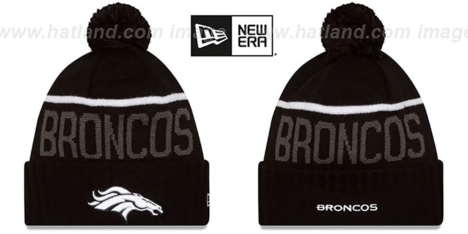 Broncos '2015 STADIUM' Black-White Knit Beanie Hat by New Era : pictured without stickers that these products are shipped with