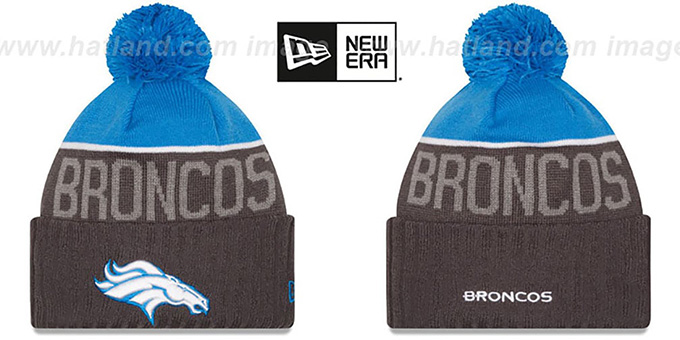 Broncos '2015 STADIUM' Charcoal-Blue Knit Beanie Hat by New Era : pictured without stickers that these products are shipped with